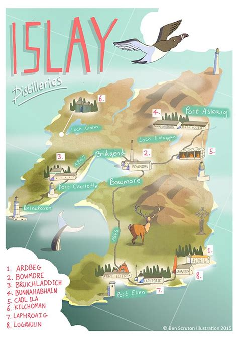 Islay Whisky Map (With images)   Whisky map, Islay, Whisky
