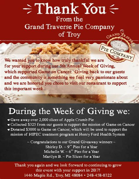 Troy Week of Giving - A Win-Win for All! | Grand Traverse