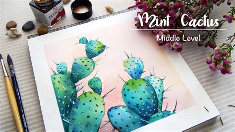 「watercolour painting」blue cactus - YouTube