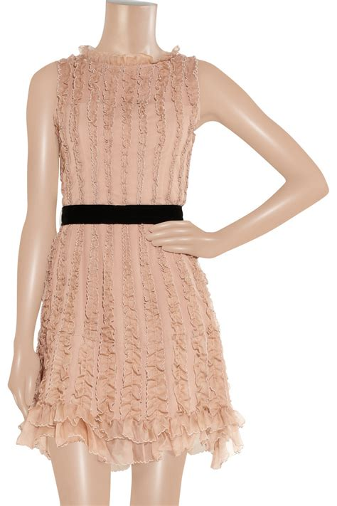 RED Valentino Ruffled Silk Crepe and Organza Dress in Rose