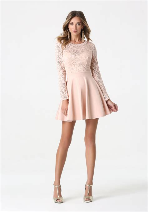 Lyst - Bebe Lace Backless Flared Dress in Pink