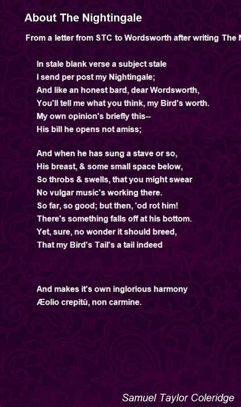 About The Nightingale Poem by Samuel Taylor Coleridge