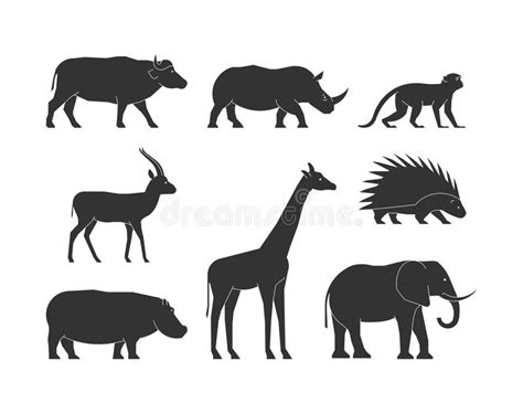 Black Silhouettes African Animals