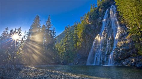 Nature Morning Dawn Sunlight Forest River Waterfall Rock