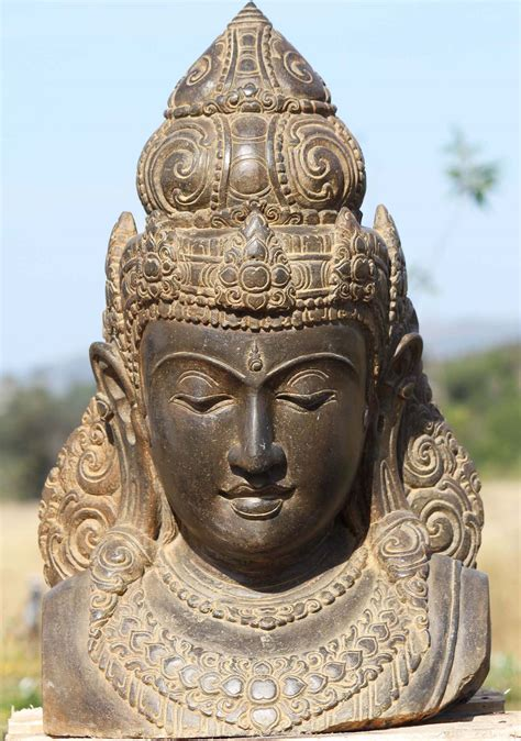 """SOLD Stone Devi Bust with Beautiful Crown 27"""" price is"""